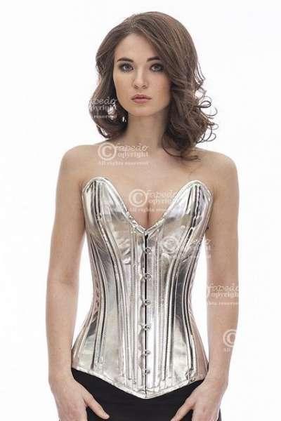 Corsage Korsett Silber Glitter Lack Vollbrust tiefer Ausschnitt plG4