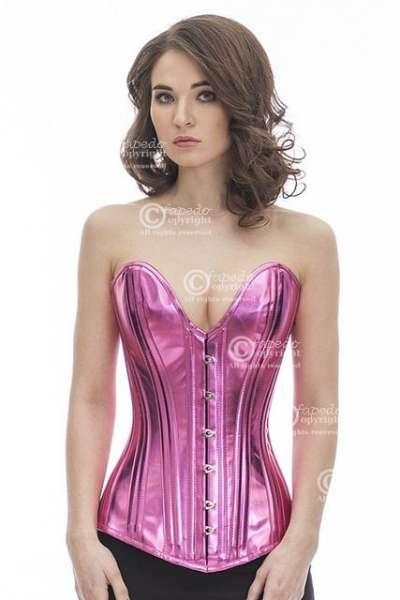 Corsage Korsett Pink Glitter Lack Vollbrust tiefer Ausschnitt plG7