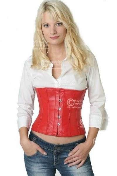 Korsett Corsage Leder Rot Taille lw23
